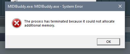 MIDI Buddy Error 2